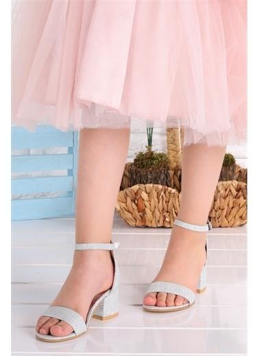 Kiko Kids  041 Elmnt Simli Kız Çocuk 3 Cm Topuk Sandalet Ayakkabı Gümüş